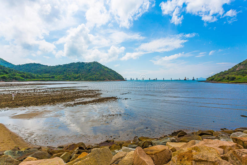 Kustlandschap bij Tai O, Hong Kong royalty-vrije stock foto's