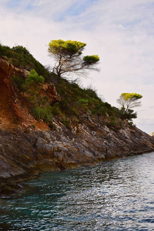 Kustlandschap in het eiland van Zakynthos stock afbeeldingen