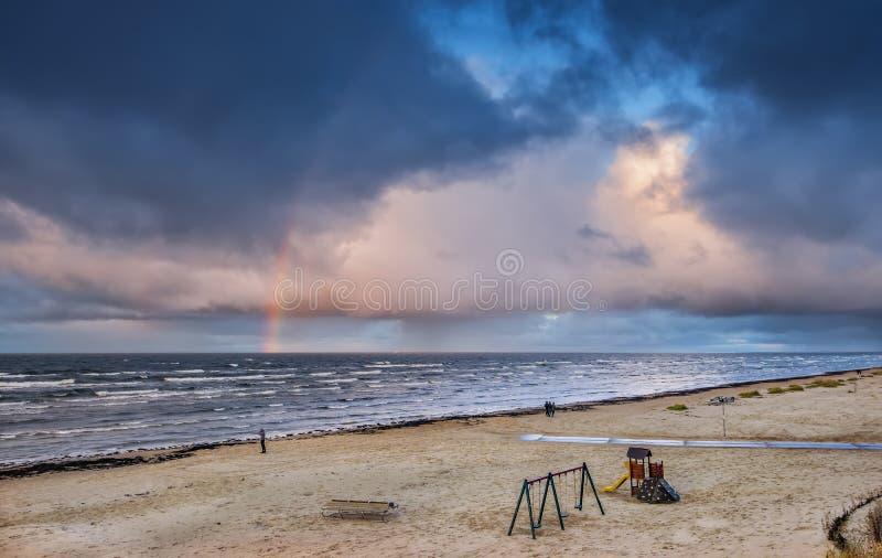 Kustlandschap, Oostzee, Europa stock afbeelding