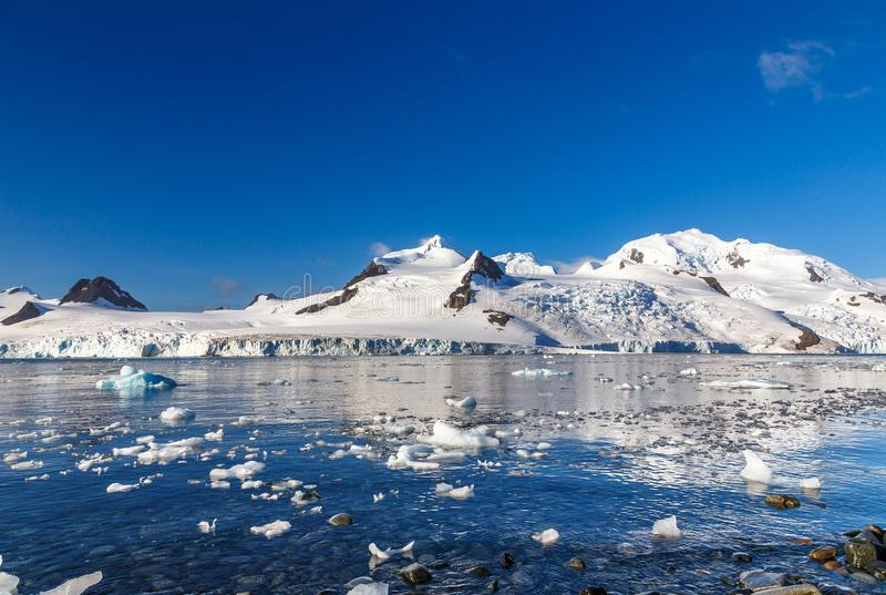 Kustlijn met stenen en koude nog wateren van antarctische overzeese vertraging royalty-vrije stock foto's