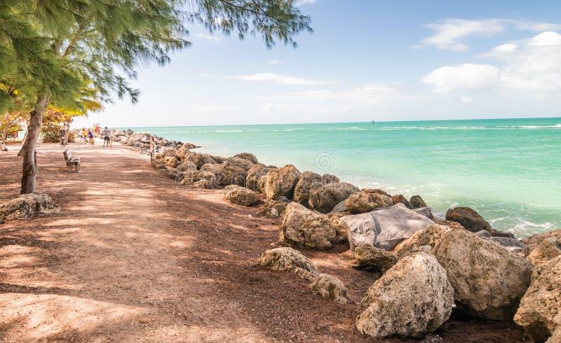 Kustlinje av fortet Zachary State Park i Key West, FL royaltyfri foto