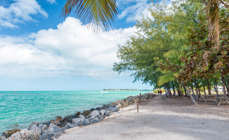 Kustlinje av fortet Zachary State Park i Key West, FL arkivfoton