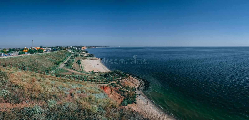 Kustlinje och stränder i Ochakov, Ukraina arkivfoto