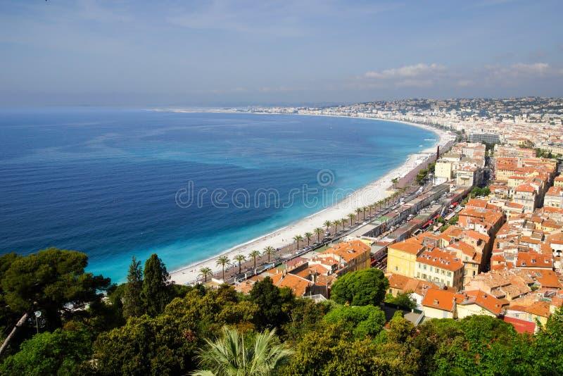 Kustlinjen av Nice, Fance arkivbilder
