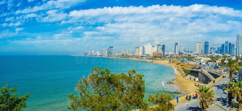 Kustlinjen av Tel Aviv arkivfoto