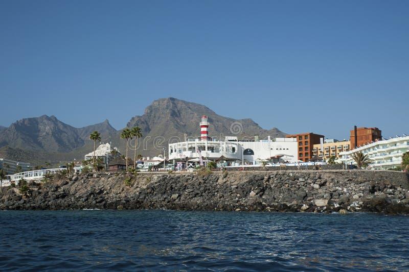 Kustmeningen van Puerto-Dubbelpunt, Costa Adeje, Canarische Eilanden, Spanje stock foto