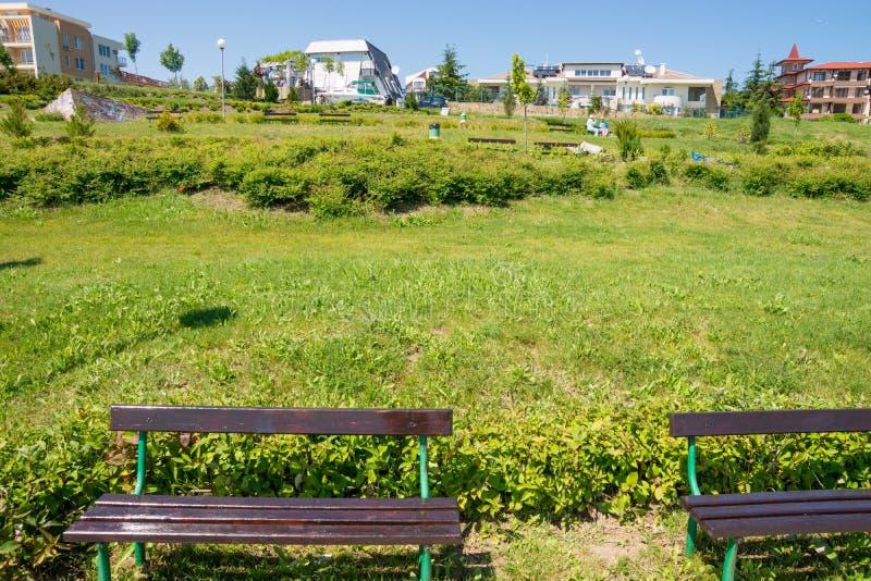 Kustpark in het toevluchtdorp van Ravda in Bulgarije royalty-vrije stock foto's