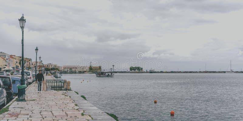 Kustpromenade in de Stad van Zakynthos stock foto's