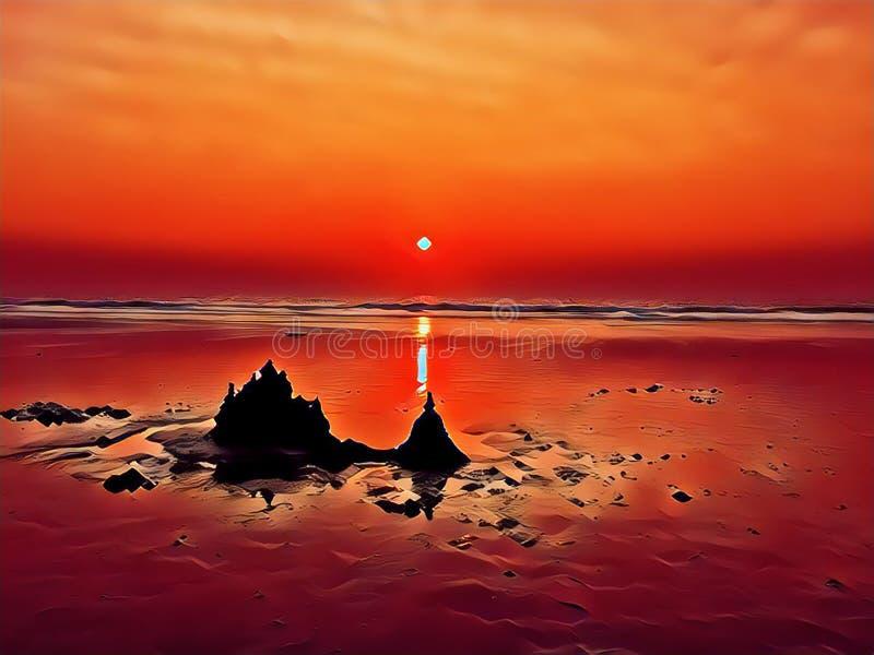Kustscène in rode kleuren De heldere digitale illustratie van het strandpanorama royalty-vrije illustratie