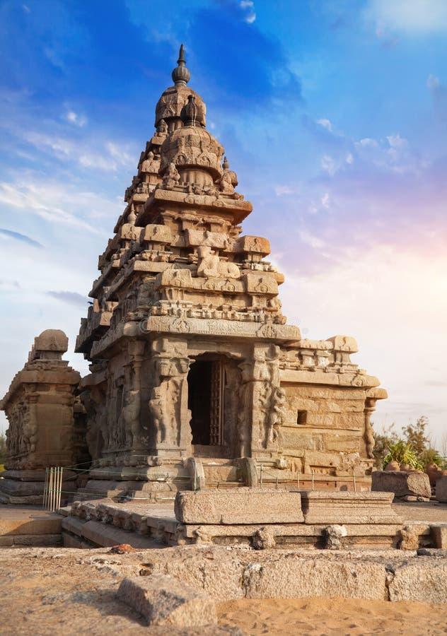 Kusttempel i Mamallapuram royaltyfri fotografi