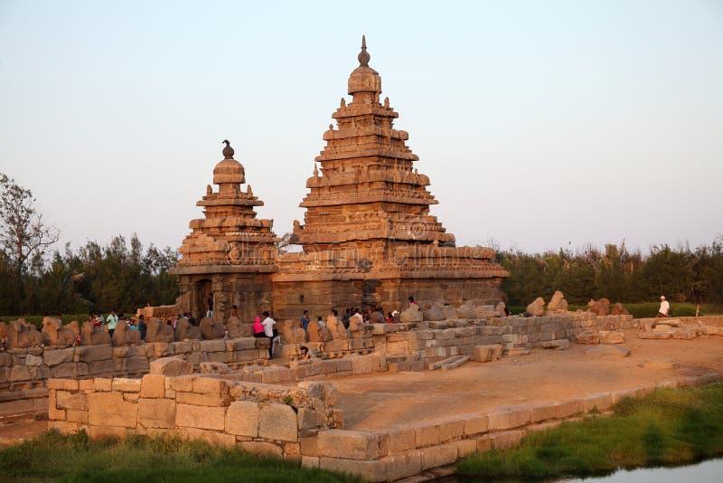 Kusttempel i mamallapuram, Chennai, Tamilnadu fotografering för bildbyråer