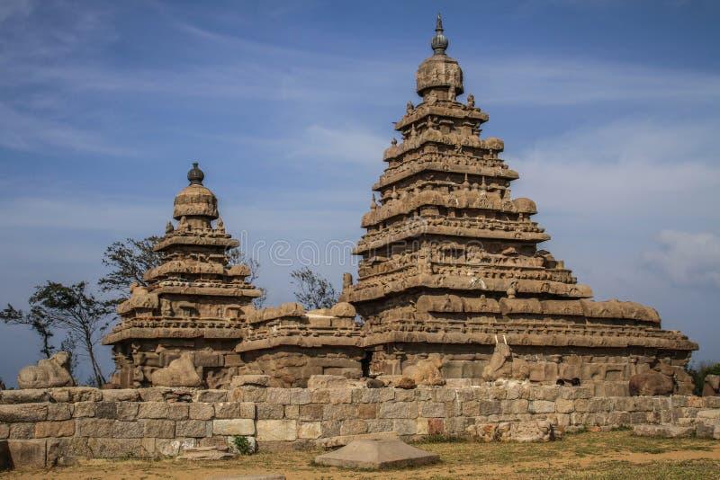 Kusttempel van Mahabalipuram, Tamil Nadu, India stock foto's