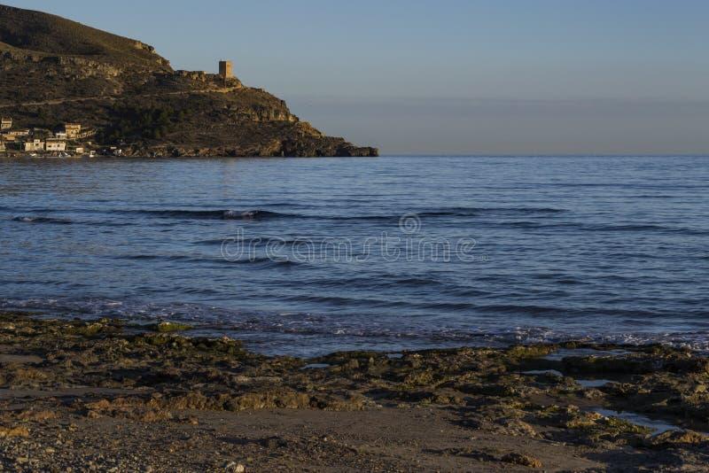Kustvestingwerken Azohia, Cartagena, Murcia, Spanje royalty-vrije stock fotografie