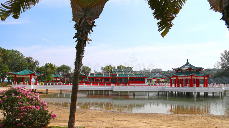 Kusu Island, Singapore (Oct, 2 2016) - Annual pilgrimage season - Tua Pek Kong Temple. Temple over pond stock images