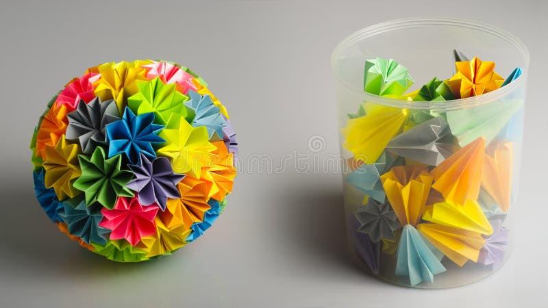 kusudama origami tęcza obraz royalty free