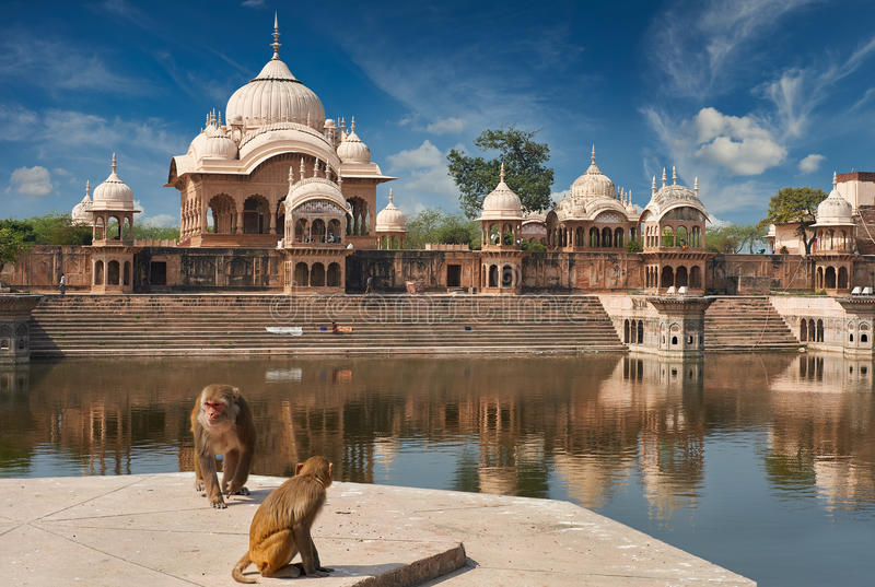 Kusum Sarovar in Mathura Uttar-Pradesh, India. Kusum Sarovar. This lake is one of the most visited places in Mathura. Next to it there are numerous temples and royalty free stock images
