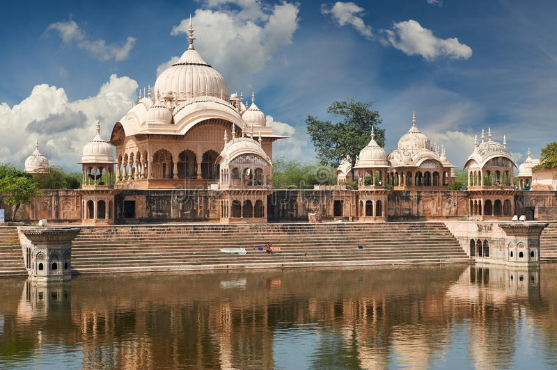 Kusum Sarovar in Mathura Uttar-Pradesh, India. Kusum Sarovar. This lake is one of the most visited places in Mathura. Next to it there are numerous temples and stock photos