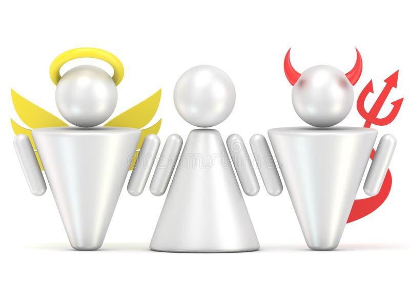 Kuszenia pojęcie Kobiety, anioła i diabła postacie, 3d royalty ilustracja