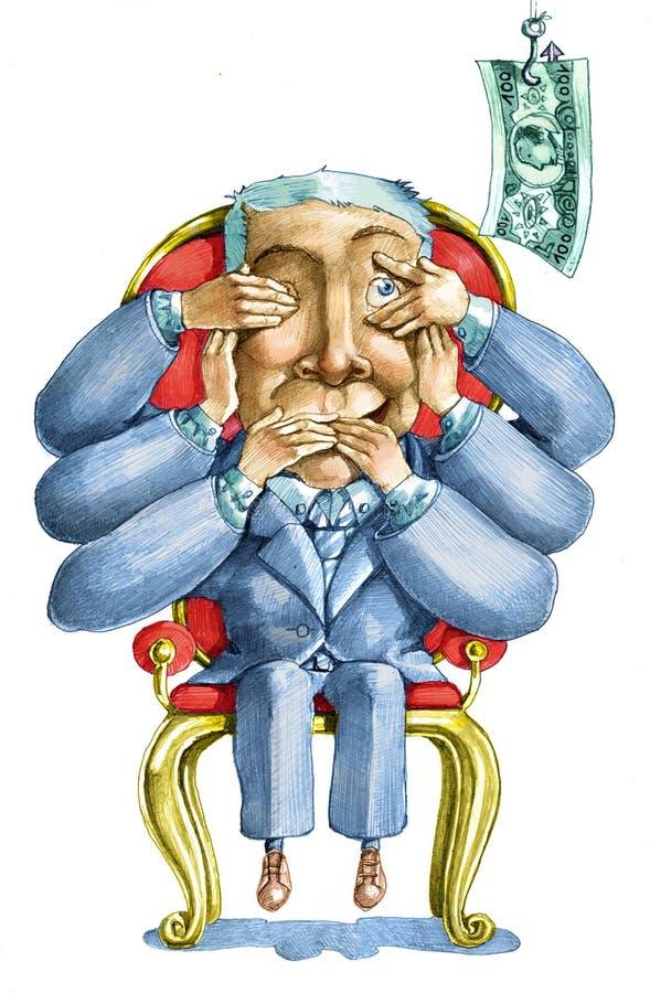 Kuszenie korupcja royalty ilustracja