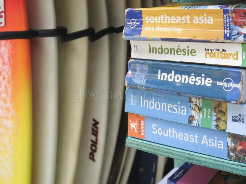 Indonesia guide books for sale kuta beach royalty free stock photo