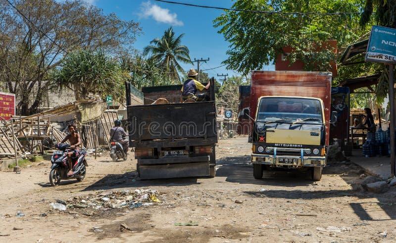 Kuta Lombok gataplats arkivbilder