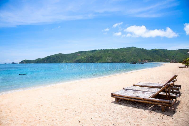 Kuta sand beach, Lombok, Indonesia royalty free stock images