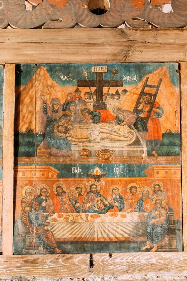 Kutaisi, Georgien Auszüge des letzten Abendmahls aus mittelalterlichen Fresken im Kloster Gelati stockfotografie