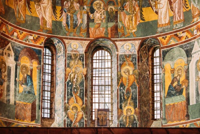 Kutaisi, la Géorgie Fresques médiévaux dans le monastère de Gelati photographie stock libre de droits