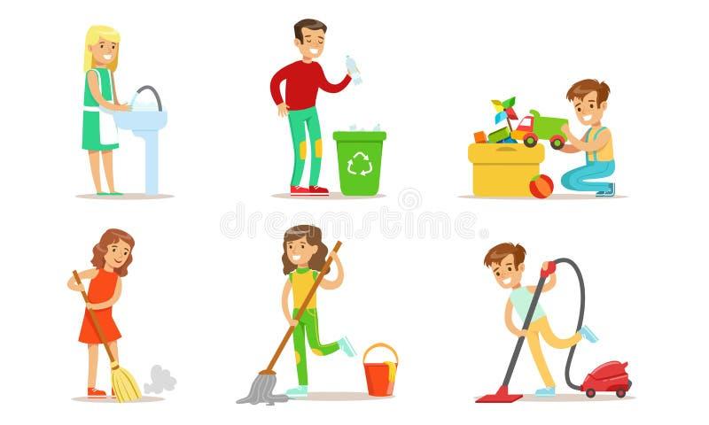 Kute Children Doing Housework Set, Boys and Girls Mopping and Vacuumumummering Floor, Gathering Garbage, Kinderen Helpen Ouders vector illustratie