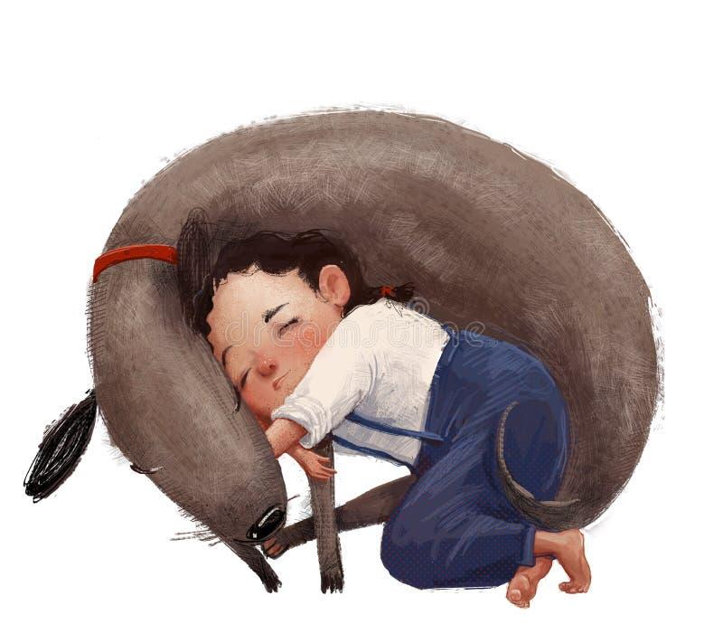 Kute meisje met bruine hond vector illustratie