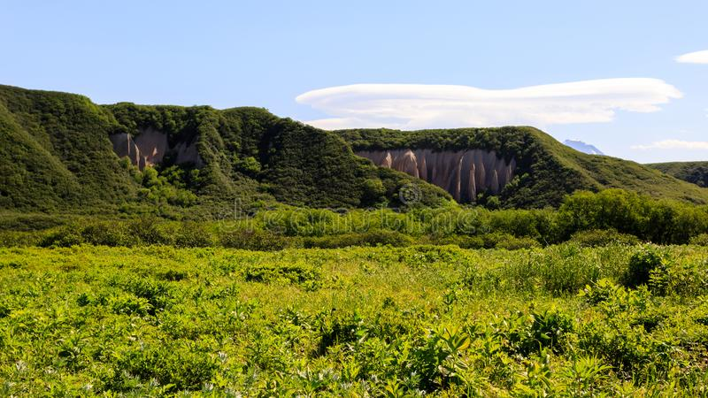 Kuthin巴塔轻石露出 克罗诺基火山储备,堪察加半岛 免版税库存图片
