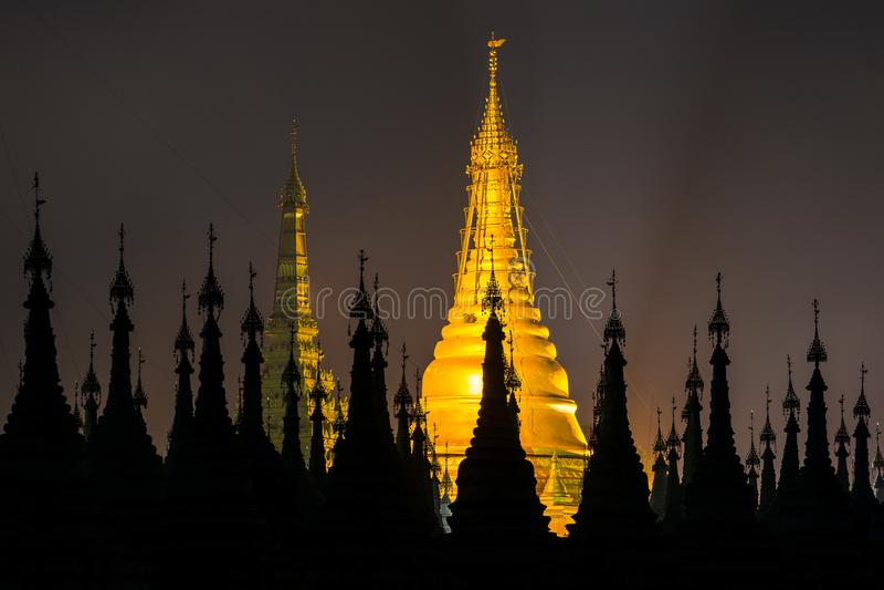 Kuthodaw Pagoda at night in Mandalay. Myanmar stock images