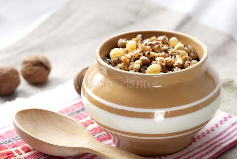 Kutia - słodki tradycyjny naczynie dla bożych narodzeń w Europa Wschodnia obraz stock