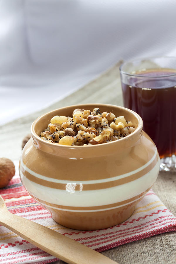 Kutia - sweet grain pudding, the traditional first dish of Christmas Eve supper in Eastern European countries stock photography