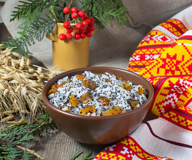Kutia - traditional Christmas sweet meal in Ukraine, Belarus and. Bowl with kutia - traditional Christmas sweet meal in Ukraine, Belarus and Russia stock photos