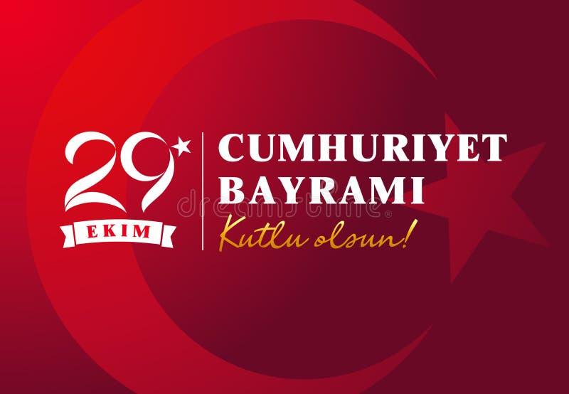 kutlu 29 ekim Cumhuriyet Bayrami olsun, die Tag der Republik-Türkei-Vektorillustration lizenzfreie abbildung