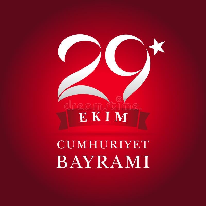 kutlu olsun van letters voorziende banner van 29 ekimcumhuriyet Bayrami royalty-vrije illustratie