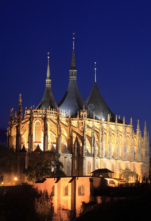 Kutna Hora. The Saint Barbara's church at night from in Kutna Hora, Czech Republic stock image