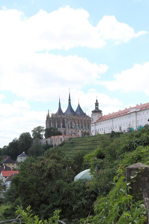 Kutna Hora - de stad in de Centrale Tsjechische Republiek met fijne architectuur en interessante gezichten stock afbeelding