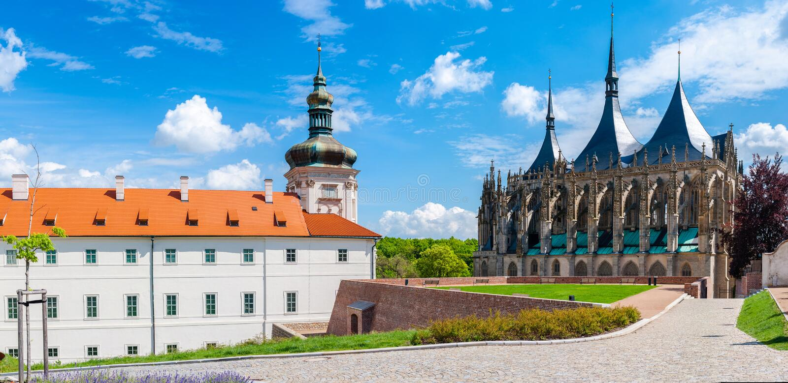 Kutna Hora. Jesuit College in Kutna Hora, Czech Republic with the UNESCO protected St. Barbara's Church in the background royalty free stock image