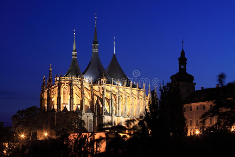 Kutna Hora at night. The Saint Barbara's church seen at night from the view point at Italian court in Kutna Hora, Czech Republic royalty free stock photos