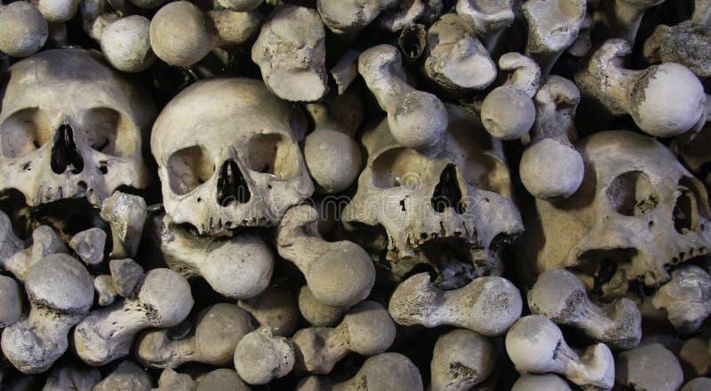 Kutna Hora Ossuary. Human skulls and bones in Ossuary in Sedlec, Kutna Hora, Czech stock images