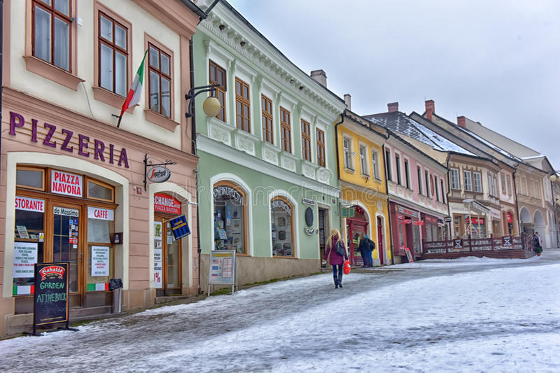 Kutna Hora, Sedlec. Streets of historical city of Kutna Hora in winter. The old town is protected by UNESCO and is visited by tourists during the high season stock photography