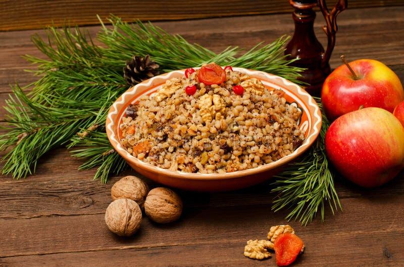 Kutya 传统圣诞节膳食在乌克兰、白俄罗斯和波兰 库存图片