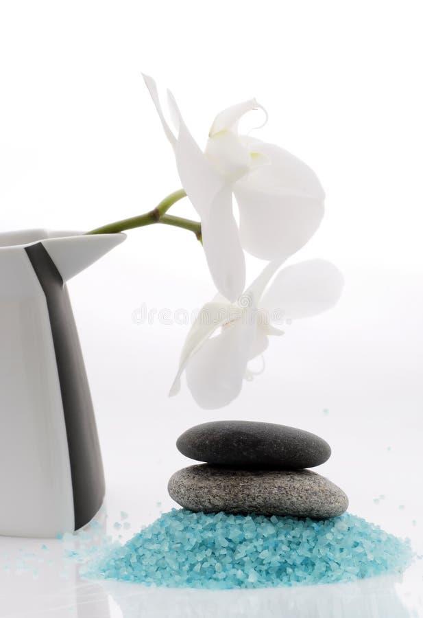 Kuuroord - badzout en orchidee royalty-vrije stock afbeelding