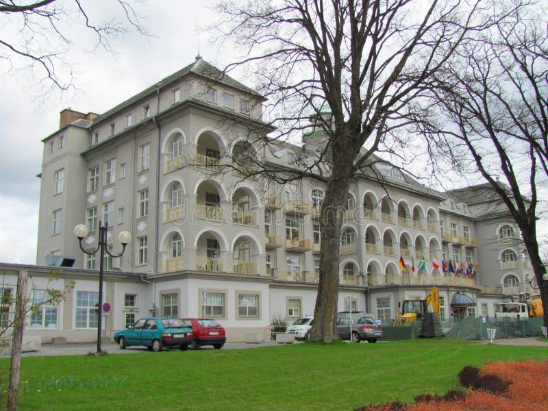 Kuuroord buildind van Priessnitz, Jesenik, Tsjechische Republiek, Europa, 20 4 2017 royalty-vrije stock foto's