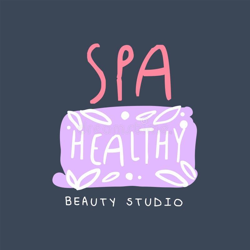 Kuuroord, gezond, het embleem van de schoonheidsstudio, embleem voor wellness, de getrokken vectorillustratie van het yogacentrum stock illustratie