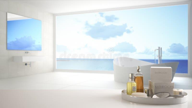 Kuuroord, het concept van de hotelbadkamers Witte lijstbovenkant of plank met het baden van toebehoren, toiletries, over vaag pan royalty-vrije illustratie