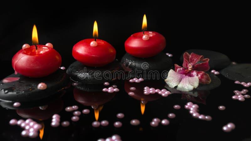 Kuuroord het plaatsen van rode kaarsen, de bloem van orchideecambria op zenstenen stock fotografie