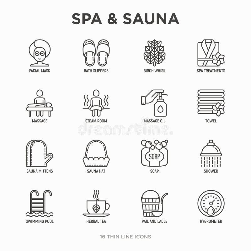 Kuuroord & sauna dunne geplaatste lijnpictogrammen: massageolie, handdoeken, stoomruimte, douche, zeep, emmer en gietlepel, hygro stock illustratie